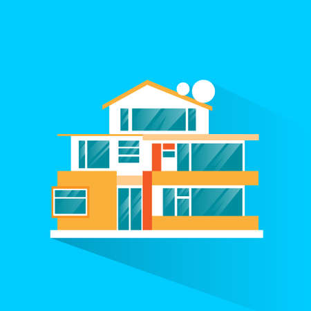 family in front of house: big modern villa house icon flat design vector