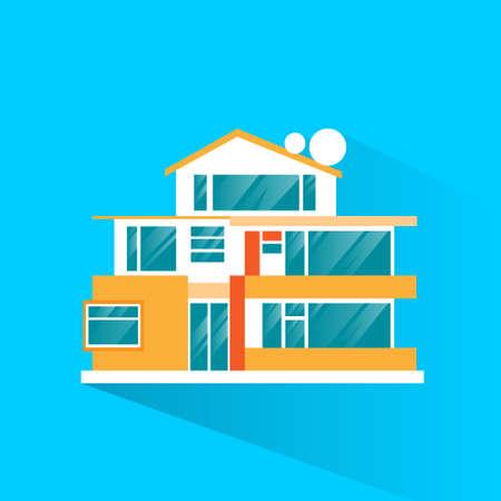 villa: big modern villa house icon flat design vector