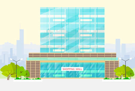 shopping mall building exterior vector