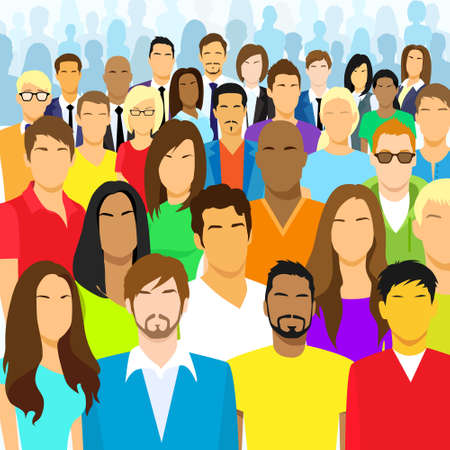 diverse business team: Group of Casual People Face Big Crowd Diverse