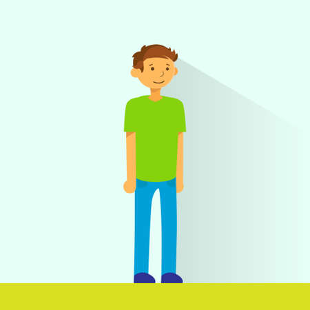 teenage couple: Casual Man Standing Full Legnth Colorful Flat Illustration