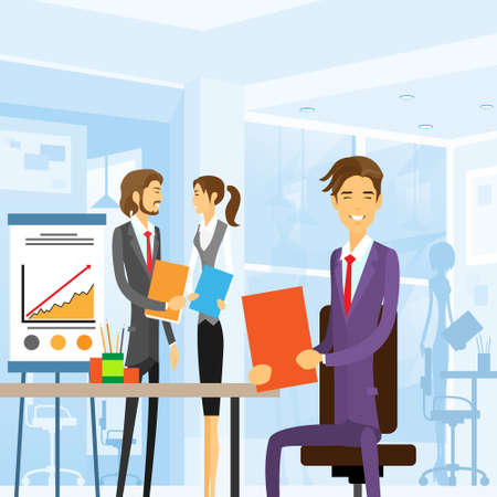 modern office: business people working sitting at office workplace Illustration