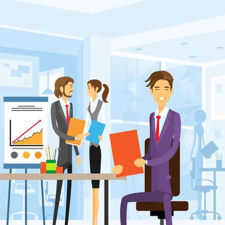 secretaria: gente de negocios trabajando sentado en el lugar de trabajo de oficina Vectores