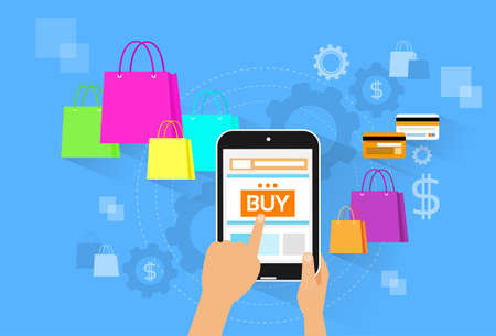 e wallet: tablet pc buy button touch finger on line shop store with shopping bags