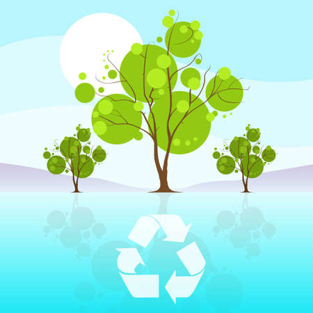 reflaction: green tree recycle flat eco icon blue sky clouds