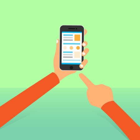 celulas humanas: icono de la pantalla del tel�fono celular inteligente manos se�alar con el dedo tocuh plana Vectores