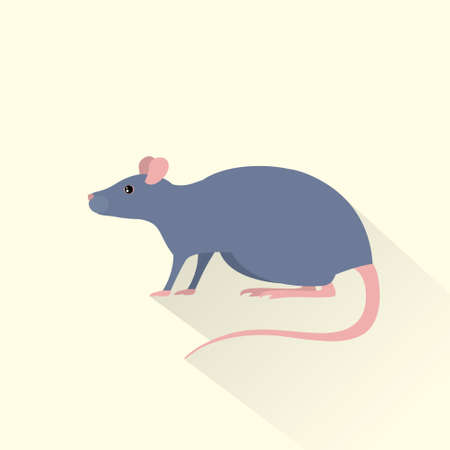 rat cartoon: rata icono gris ratón sombra plana vectorial Vectores