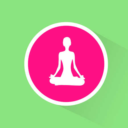 lotus position: yoga lotus position flat icon woman relaxing doing