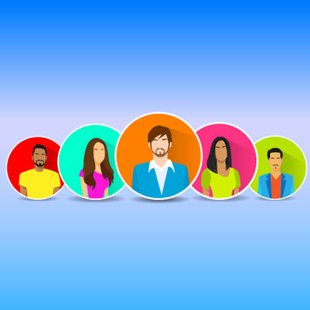 diverse group: Diverse Group Of People Icon Avatar Man And Woman