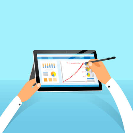stylus: tablet surface finance chart hand draw with stylus pen flat design