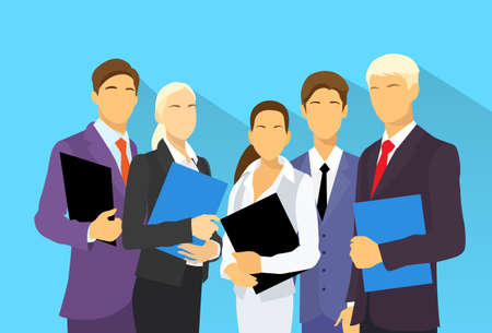 business teamwork: business people group human resources flat vector