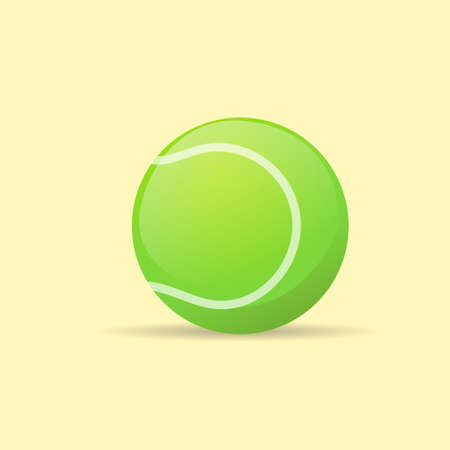 ball game: tennis ball color flat icon vector Illustration