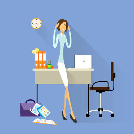 woman headache: Businesswoman hold hands on temples head, business woman concept of stressed, headache flat Illustration
