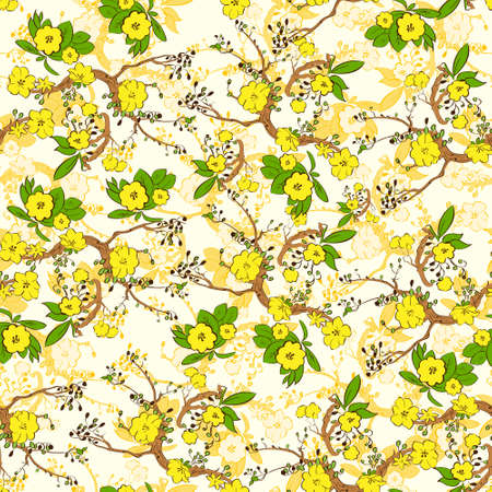 Tree branch with yellow flowers abstract nature plants pattern Vector