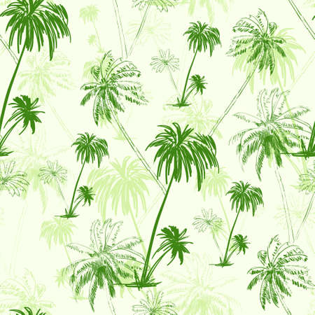 palm tree green seamless pattern over vector Vector