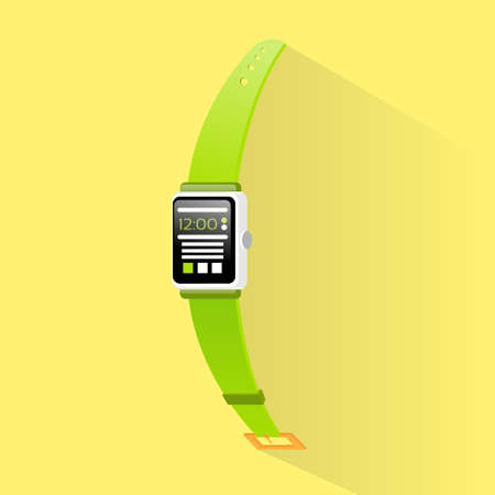 electronic device: smart watch new technology electronic device with apps icons flat design