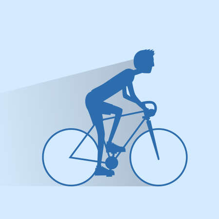 road bike: Cycling sport bicycle man silhouette, road bike rider flat Illustration