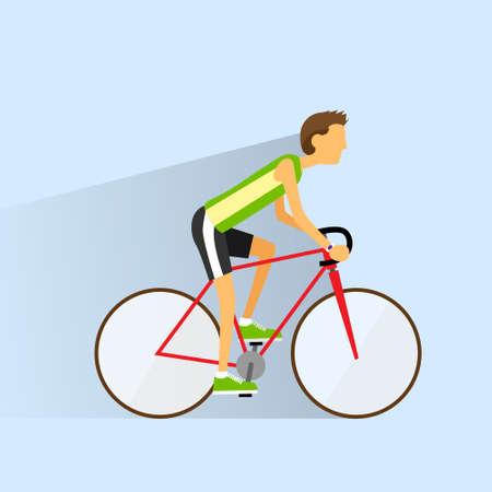 bicicleta: El hombre de la bicicleta del deporte Ciclismo, ciclistas de ruta planas Vectores