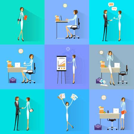 Zakelijke vrouw werkt ingesteld bureau plat ontwerp vector illustratie