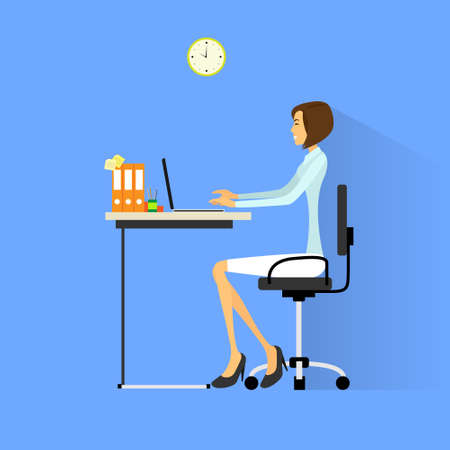 young worker: business woman sitting at desk in office working laptop computer vector illustration