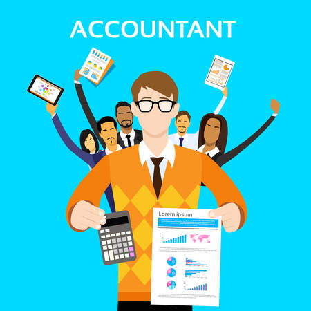 accountant: Accountant People Group Team Show Calculator Finance