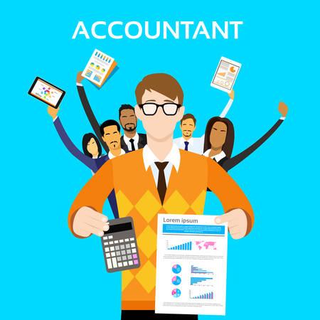 mensen groep: Accountant People Group Team Show Calculator Financiën