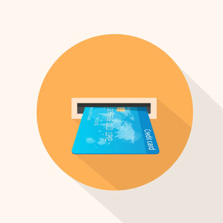 slot in: Credit Card in Atm Slot Icon Flat Vector