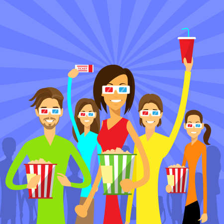 watching 3d: People Group Watching Movie in Cinema 3d Glasses Illustration