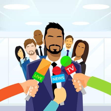 spokesperson: Interview Businessman Team Leader Hands with Microphones