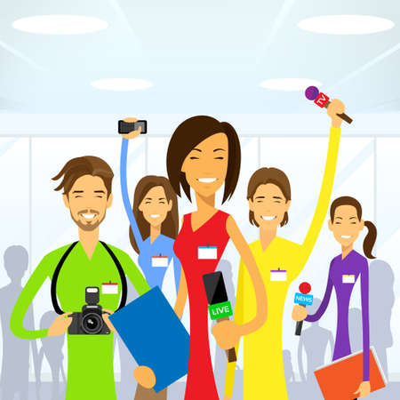 Journalists Crew, Woman Reporter eam Live News People Group Vector