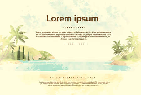 Vintage Tropical Ocean Beach with Palm Tree Retro Style