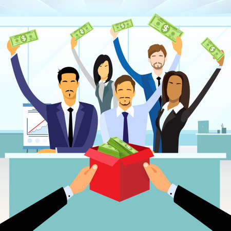 비즈니스 사람들이 그룹 군중 자금은 상자에 돈을 기부를 넣어