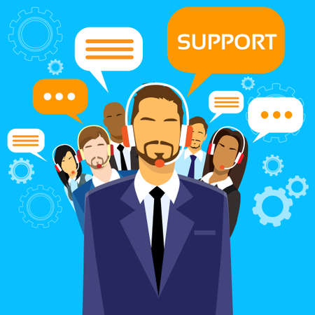 head phones: Support Business People Group Technical Team On Line Illustration