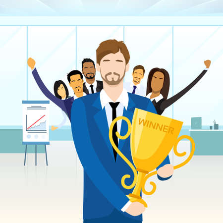 business success: Business Man Get Prize Winner Cup, People Congratulating Colleague, Businesspeople Group Team Leader Success Flat Vector Illustration