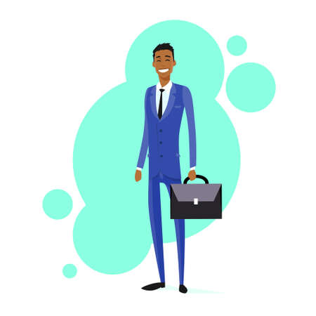 american banker: Businessman African American Race Smile Hold Briefcase