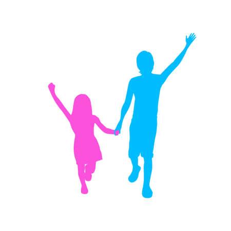 children running: Children Silhouette, Full Length Boy and Girl