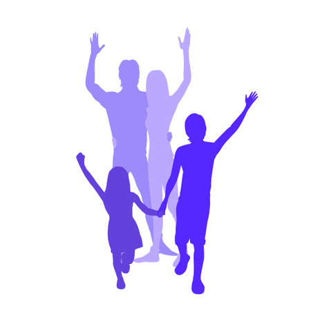 Family Silhouette, Full Length Couple with Two Kids Embracing Vector