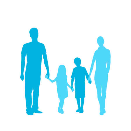 length: Family Silhouette, Full Length Couple with Two Kids Embracing Illustration