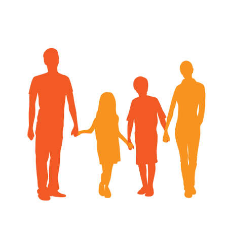 niño de pie: Familia de la silueta de cuerpo entero Pareja con dos Abrazar Niños Vectores