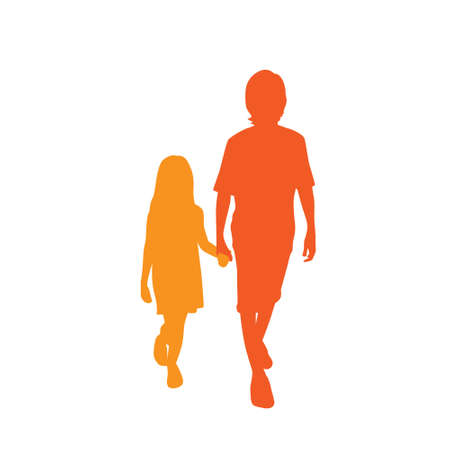 Children Silhouette, Full Length Boy and Girl Holding Hands Vector