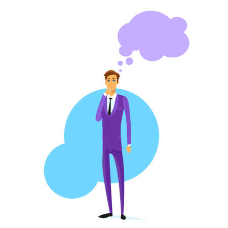 hand on chin: Businessman Think Hold Hand on Chin Cloud Head Illustration