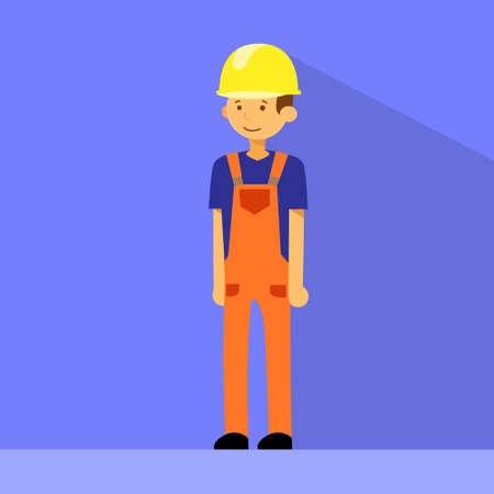 carpenter tools: Cartoon Construction Worker Character Flat Vector