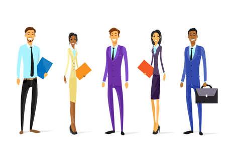 mujer con maleta: Gente de negocios Chartoon Grupo Carácter Permanente equipo diverso Vectores
