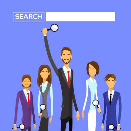 mensen groep: Business People Group Hold Magnifying Search Flat