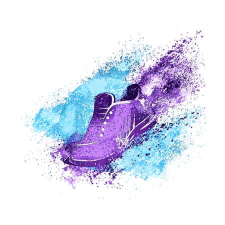 splash paint: Sneaker �claboussures de peinture Chaussures Run Concept Vecteur Illustration