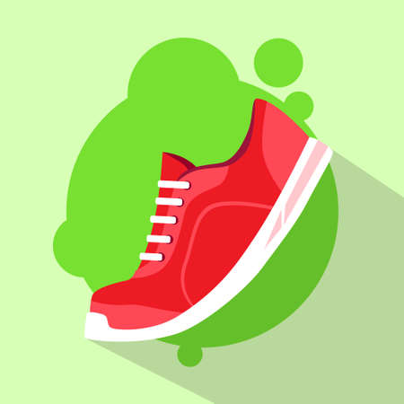 purple shoes: Sneaker Sport Running Shoe Flat Icon Vector