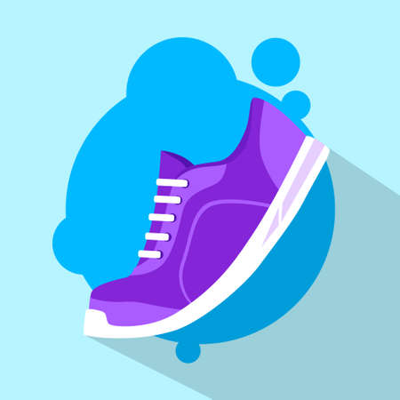 tennis shoe: Sneaker Sport Running Shoe Flat Icon Vector