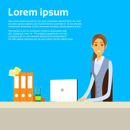 Business Woman Sitting at Desk in Office Working Laptop Ilustrace