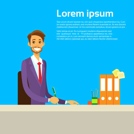 undersign: Businessman Working with Documents Sitting at Office Illustration