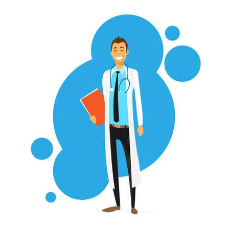 stethoscope boy: Doctor Cartoon Smile Man Icon Flat Vector
